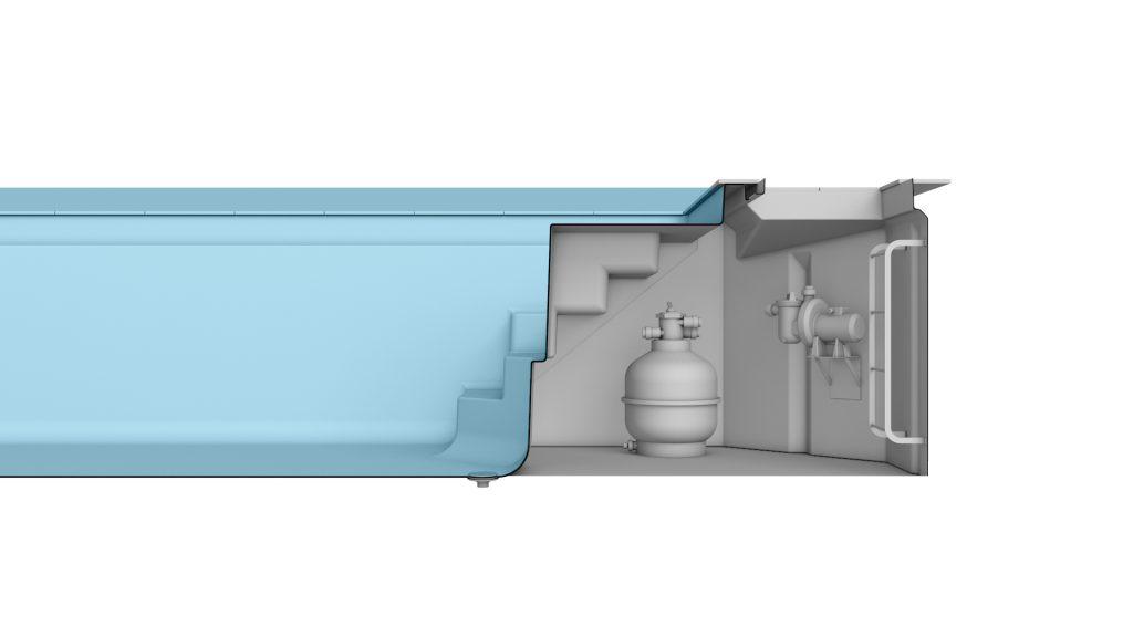 Merkmal MSC - das optionale Modulschacht-System ist eine geräumige Technikschacht Lösung direkt beim Pool