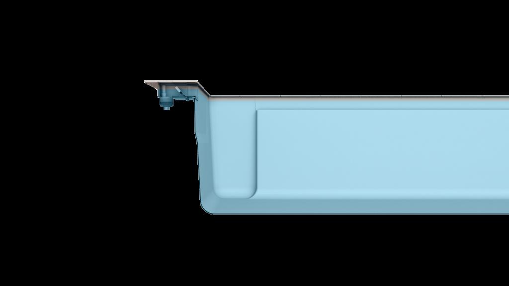 Merkmal TWS - mit einem LEIPO TWS Skimmer kann eine 3 cm hohe Wasserkante erreicht werden.