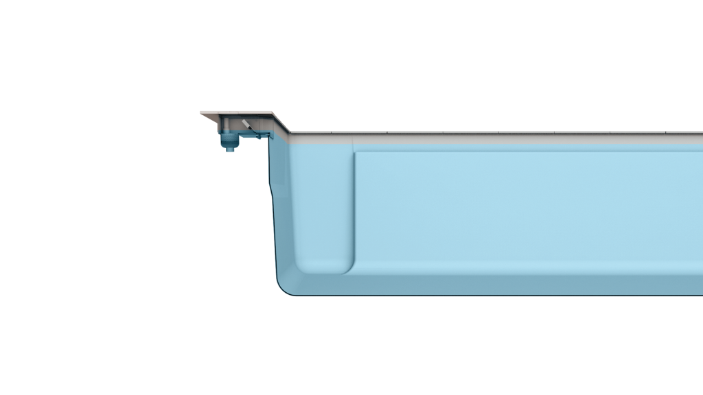 Merkmal LEIPO flatSKIM II - eine formschöne Skimmervariante und ermöglicht eine 7 cm hohe Wasserkante.