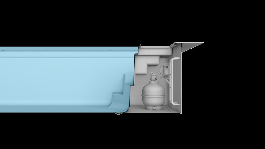 Merkmal TSC - Das integrierte Technikschacht System ist eine kompakte Lösung für einen Technikschacht direkt beim Pool.