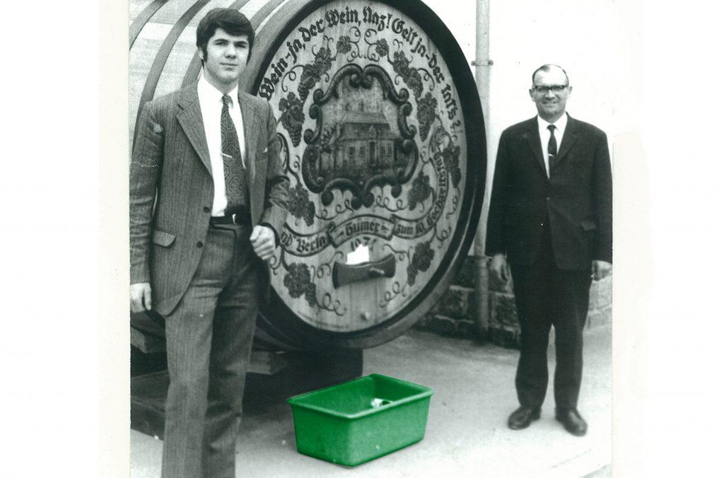 Die Firmengründer Johann Leidenfrost Senior und Johann Leidenfrost Junior bei einer Messe in den 70er Jahren in Krems.