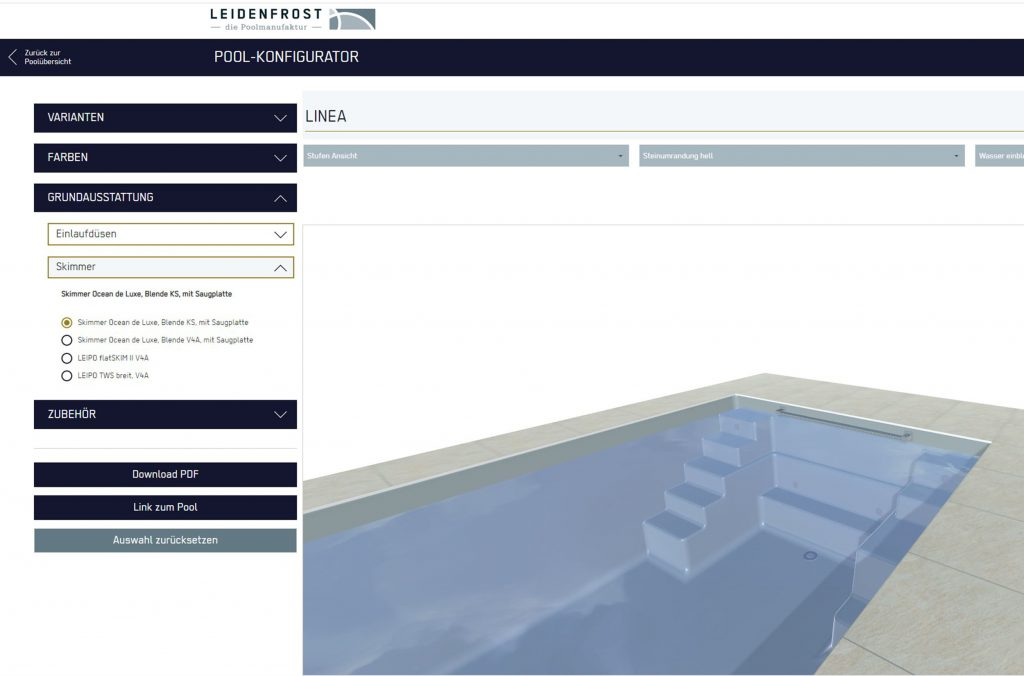 Mit dem 3D Konfigurator konfigurieren Sie Ihren Wunschpool von zu Hause aus.